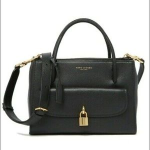"""MARC JACOBS """"LOCK THAT"""" LEATHER BAG in BLACK"""